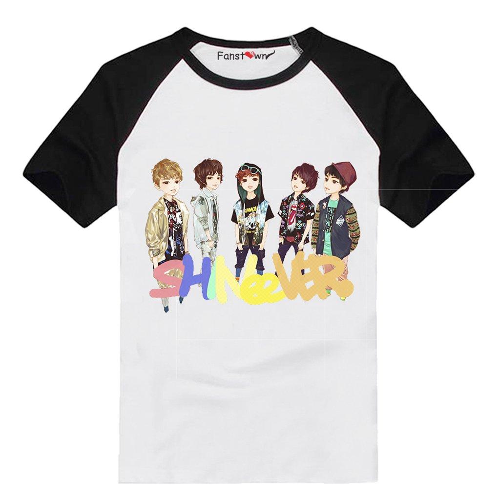 Fanstown Kpop Shinee Tshirt Shinee World Black Shoulder Fan Support Shirt