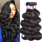 Flady Hair Brazilian Body Wave Virgin Hair 3 Bundles 100% Unprocessed Brazilian Human Hair Weave Bundles Black Color (8/8/8 Inch)