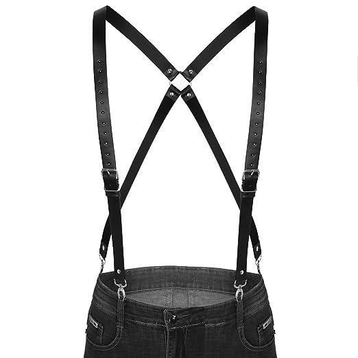 3e49ba191 FEESHOW Men s Adjustable Faux Leather Suspenders Braces Belt Body ...