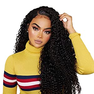 """Beauty On Line 100% Human Hair Wigs Brazilian Kinky Curly Hair 3 Part 4x4 Lace Closure Wig For Black Women Bleached Knots 130% Density (18"""", Natural Color)"""