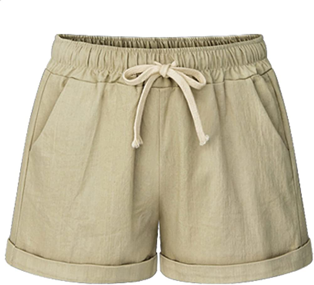 XinYangNi Womens Elastic Waist Casual Comfy Cotton Beach Shorts with Drawstring