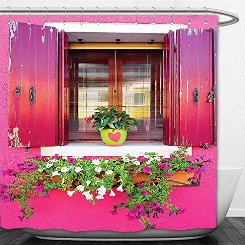 Fuchsia Tulle Flower Decoration (Interestlee Shower Curtain Rustic Dreams Romantic Atmosphere House Wooden Windows Hearts Flowers Bougainvilleas Decorations Digital Printed Photo Fuchsia Pink Green White)