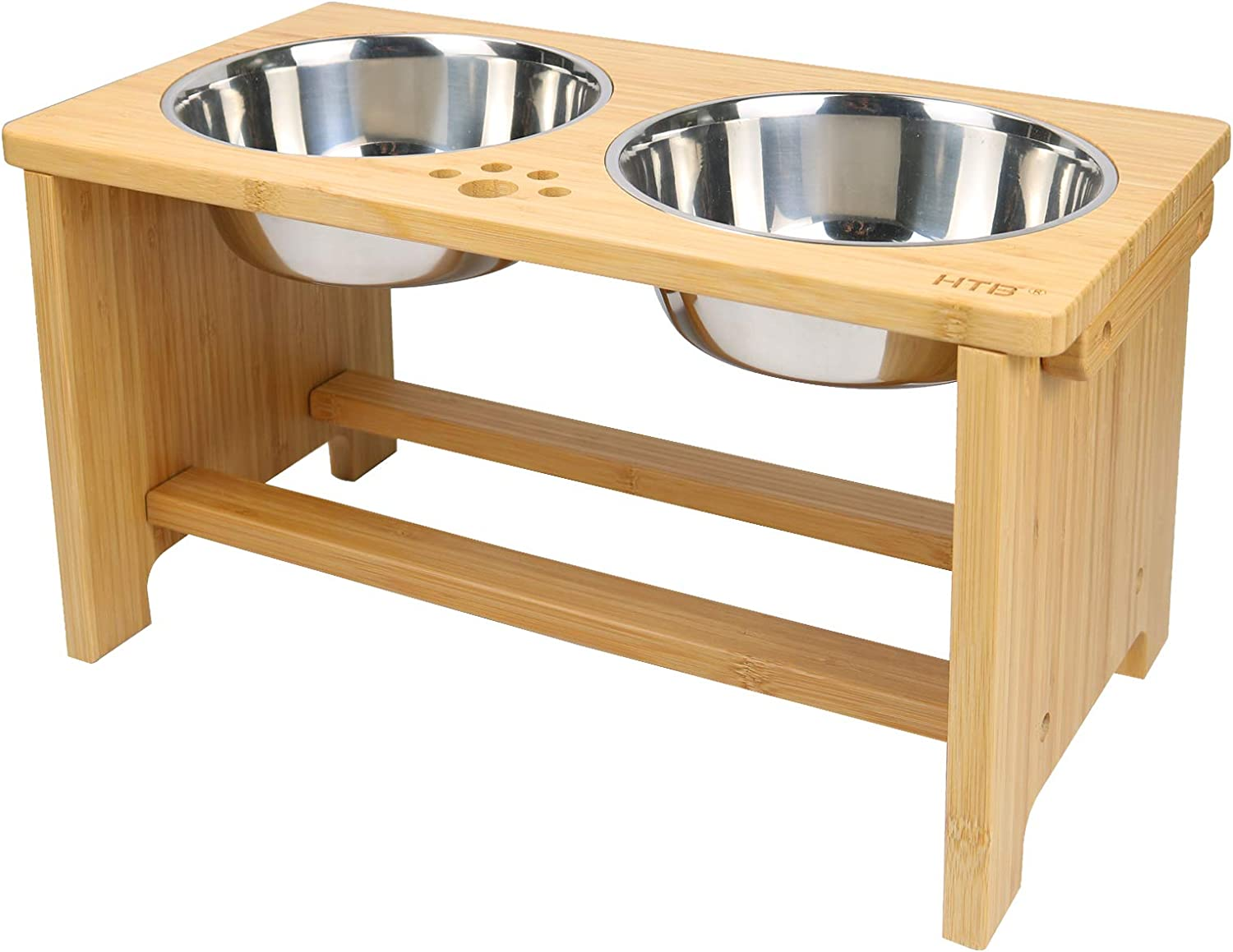 HTB Elevated Dog Bowls,Raised Dog Bowl Stand Feeder with 2 Stainless Steel Bowls,Dog Cat Pet Food Water Bowls