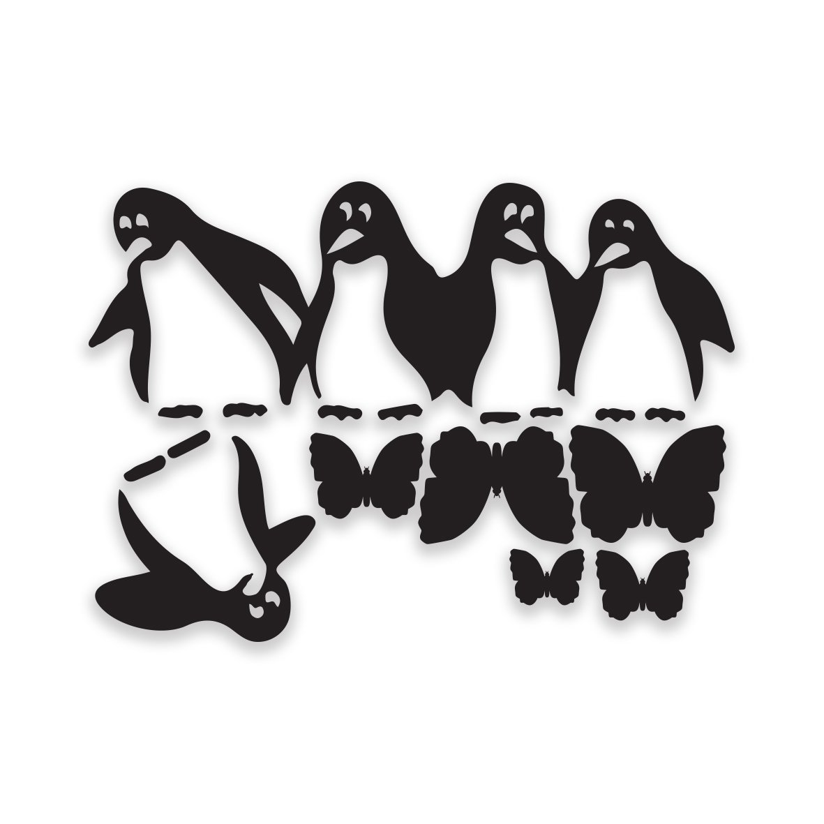 Penguins Fridge sticker black self adhesive vinyl art decor// wall decor// kitchen decal by decorsfuk.co A4 size