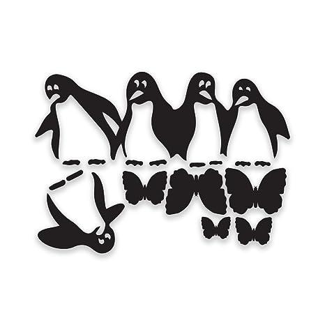 Juegos De Cocina De Pinguinos | Vinilo Con Diseno De Pinguinos Autoadhesivo Para Nevera Negro