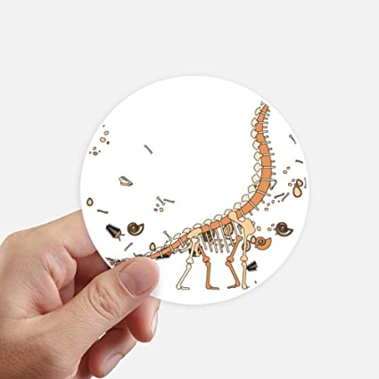 Dinosaur grass huge bones round stickers 10cm wall suitcase laptop motobike decal 8pcs