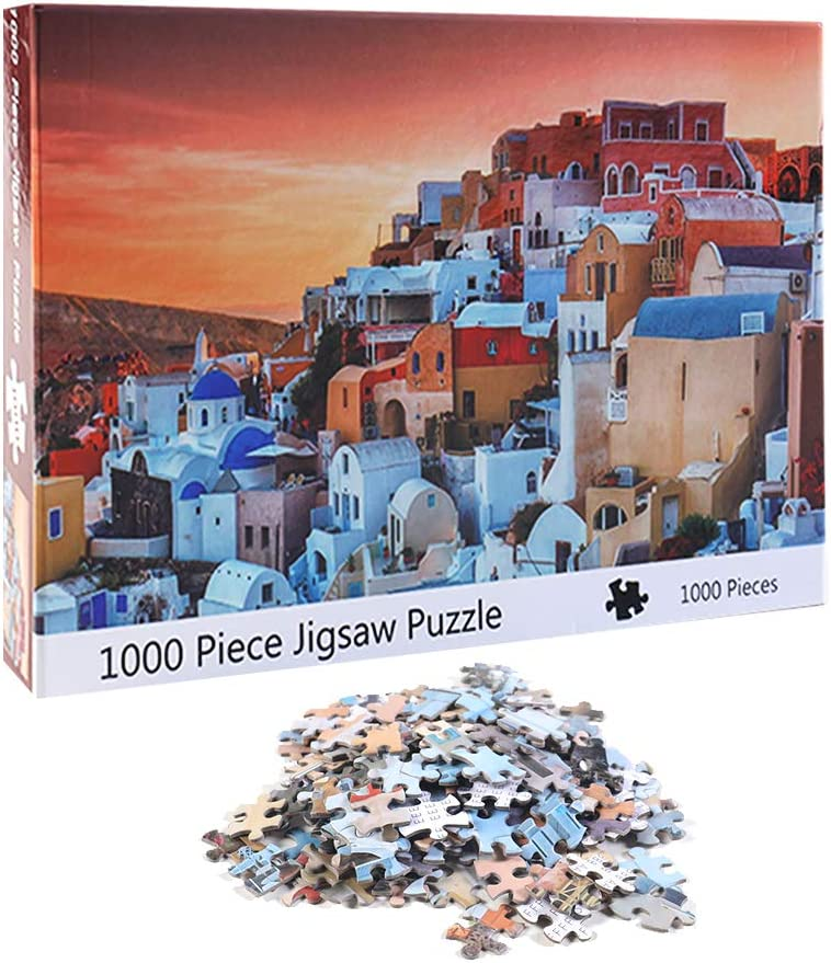 NEILDEN Puzzle for Adults 1000 Piece,Puzzle Art 1000 Pieces,Jigsaw Puzzles Landscapes, Pieces Fit Together Perfectly,Puzzle for Funny Family Games,Home Decoration(Santorini,20x28 inch)