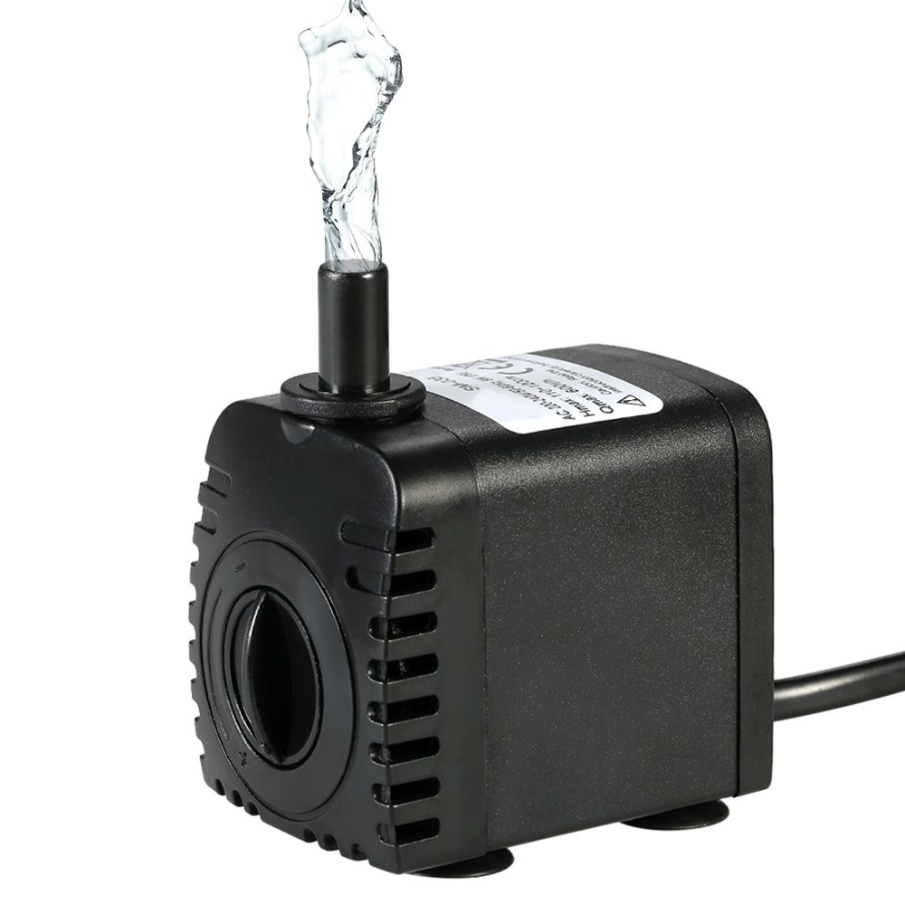 Bomba de Agua Sumergible,Decdeal 600L/H 8W Water Strider - con 2 Boquillas