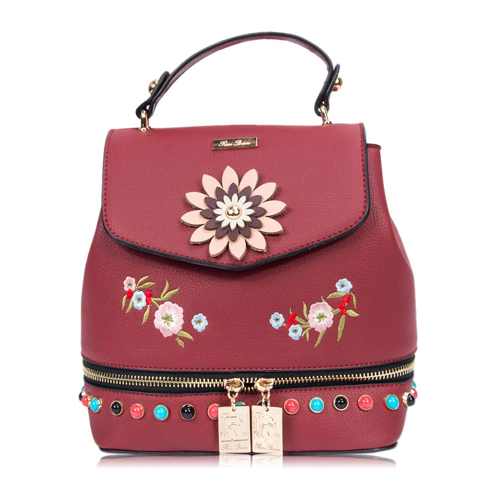 ... New ArrivalWomens Mini Cute Floral Fashion Backpack Purse Anti Theft  Leather Vintage Shoulder Bags competitive price  TOPSHINE Water resistant  Women ... c110c0ad5c4ac