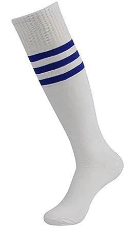 a30df3d1a08 Cosanter Unisexe Chaussettes hautes Extensible Football Sport Chaussettes  Classique Rayées Mi-Bas en Coton pour