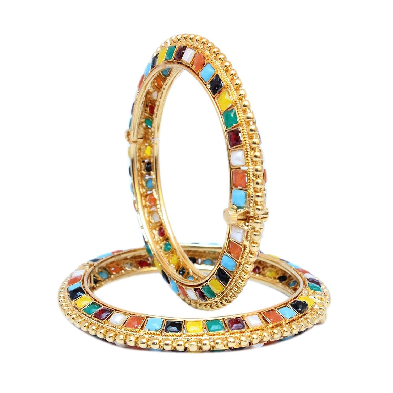 Sanara Bollywood Style Navratan GoldPlated Openable Bracelets Kada Set 2 Pcs Indian Fashion Jewelry