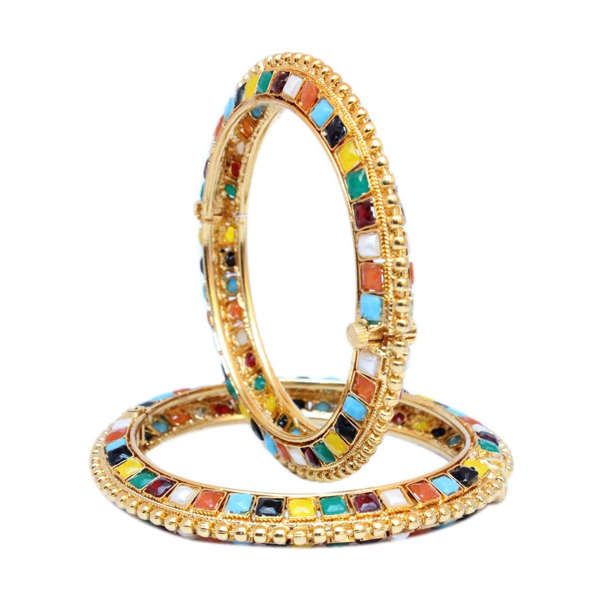 Sanara Bollywood Style Navratan GoldPlated Openable Bracelets Kada Set 2 Pcs Indian Fashion Jewelry (2.4)