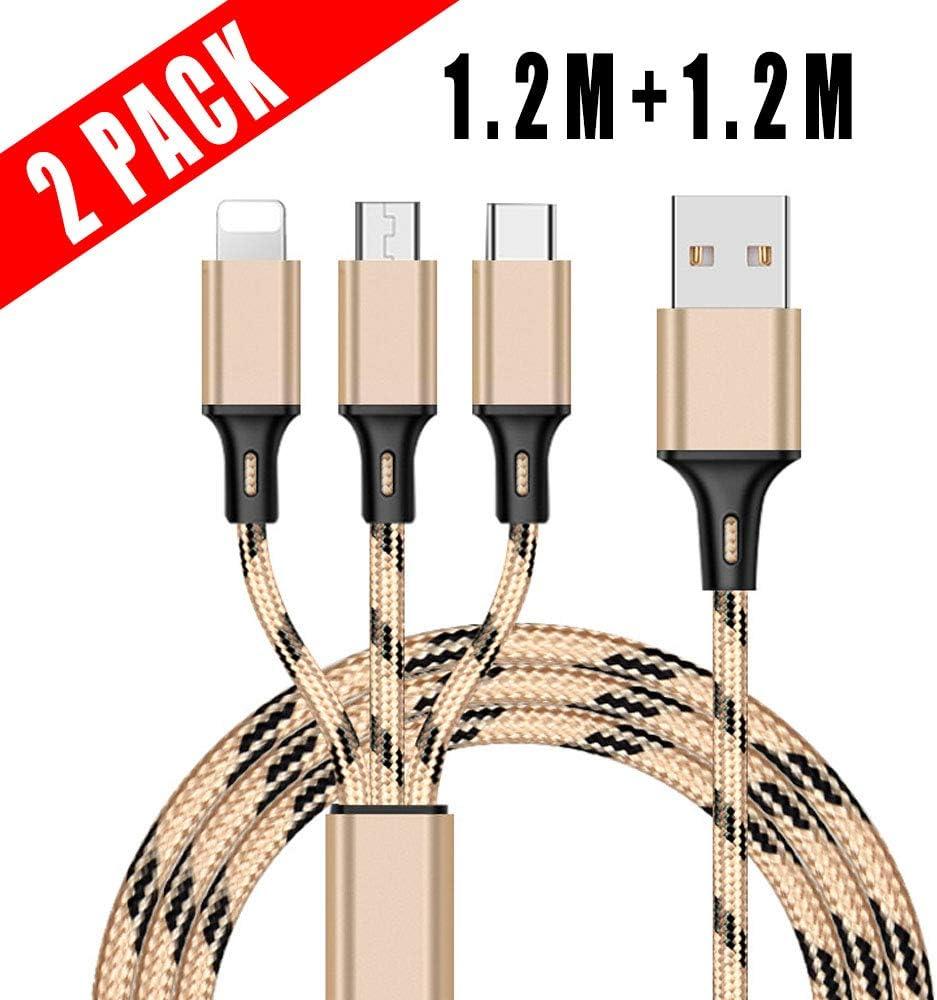 Bkinsety 2Pack Multi Cable USB 3 en 1 Cable de Carga Cargador Rápido para Teléfono Inteligente - Oro