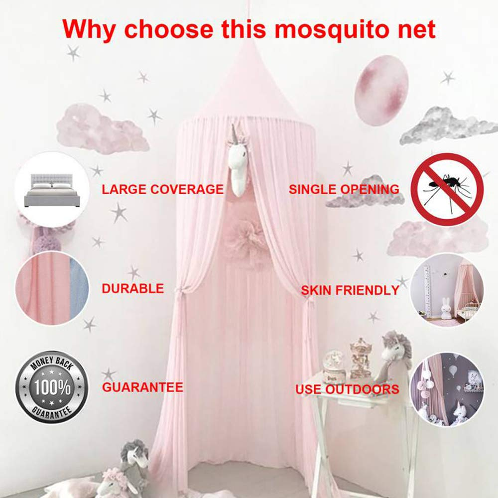 Tasera Bed Canopy, Mosquito Net Canopy Yarn Play Tent for Kids Playing Reading with Children Dome Netting Curtains Baby Boys and GirlsIndoor Games House (Pink) by Tasera (Image #8)
