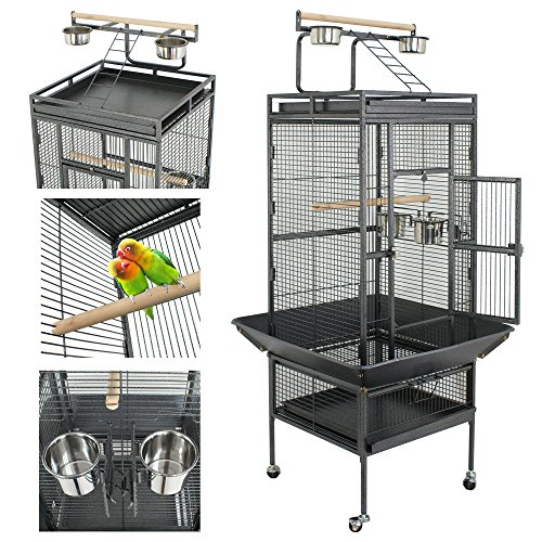 Nova Microdermabrasion 61/68 Large Bird Cage Play Top Parrot Cockatiel Parakeet Chinchilla Macaw Cockatoo Cage W/Stand Perch Pet Supplies (61)