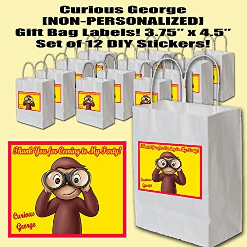 Curious George Party Favors Supplies Decorations Gift Bag Label Stickers ONLY 3.75