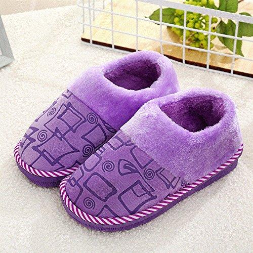 Cotone fankou pantofole pacchetto femmina con un paio di soggiorno invernale home anti-slittamento caldo spesse pantofole maschio e ,38-39, viola le piazze (come)