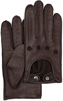 Brown Harssidanzar Mens Leather Driving Gloves Goatskin Unlined M