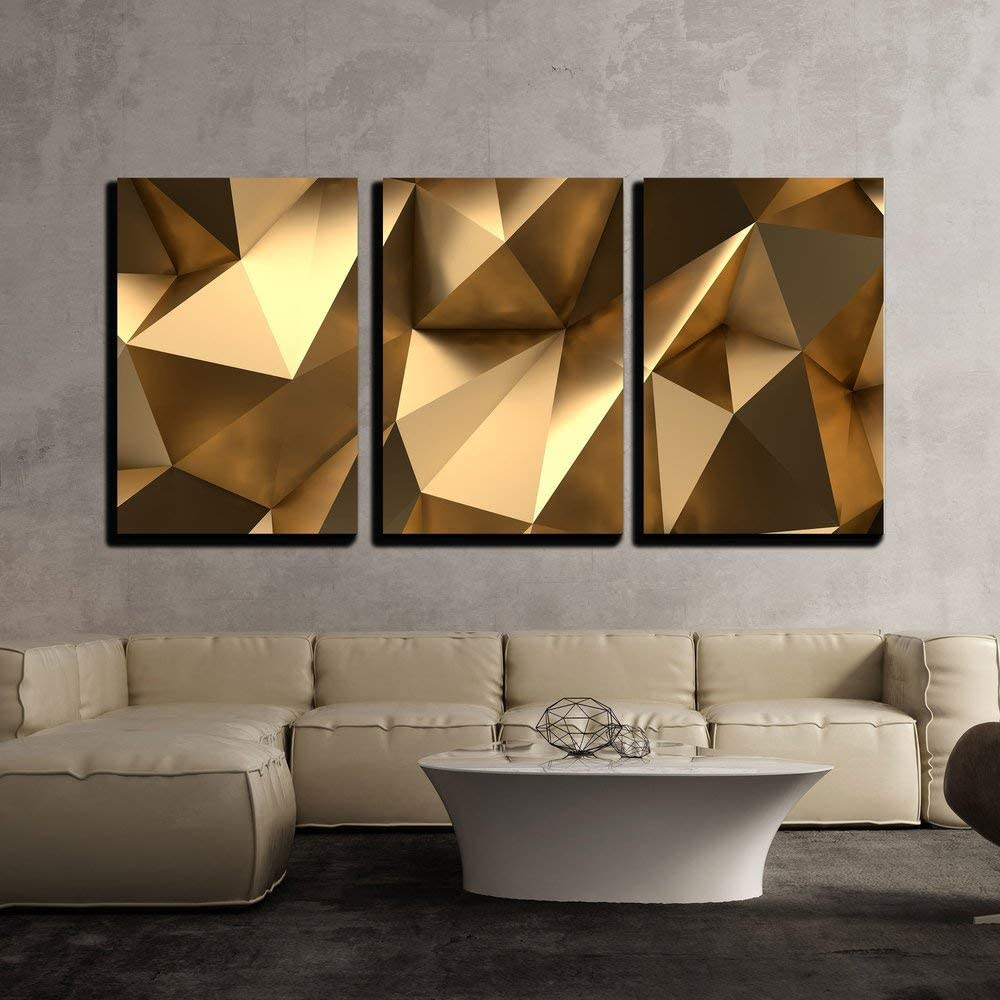 "wall26 - 3 Piece Canvas Wall Art - Luxury Gold Abstract Polygonal Background 3D Rendering - Modern Home Art Stretched and Framed Ready to Hang - 16""x24""x3 Panels"