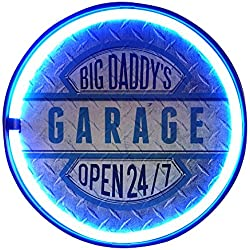 "Big Daddy's Garage Open 24/7 LED Neon Rope Sign, LED Light Rope With Neon Like Effect, 12"" Round Bottle Cap Shape, Batteries Or Plug-In, Ready To Hang In Home, Bar, Garage, Or Man Cave"