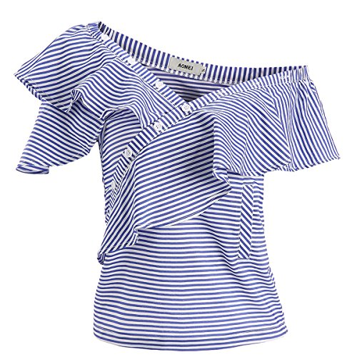 AOMEI Summer Blue Striped Blouse Shirts For Women for sale