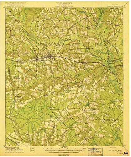YellowMaps Claxton GA topo map, 1:62500 Scale, 15 X 15 Minute, Historical, 1919, 19.8 x 16.6 in - Paper