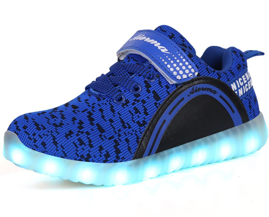 THEZX Kids LED Light up Shoes Casual Sneakers for Boys and Girls (3, Blue)