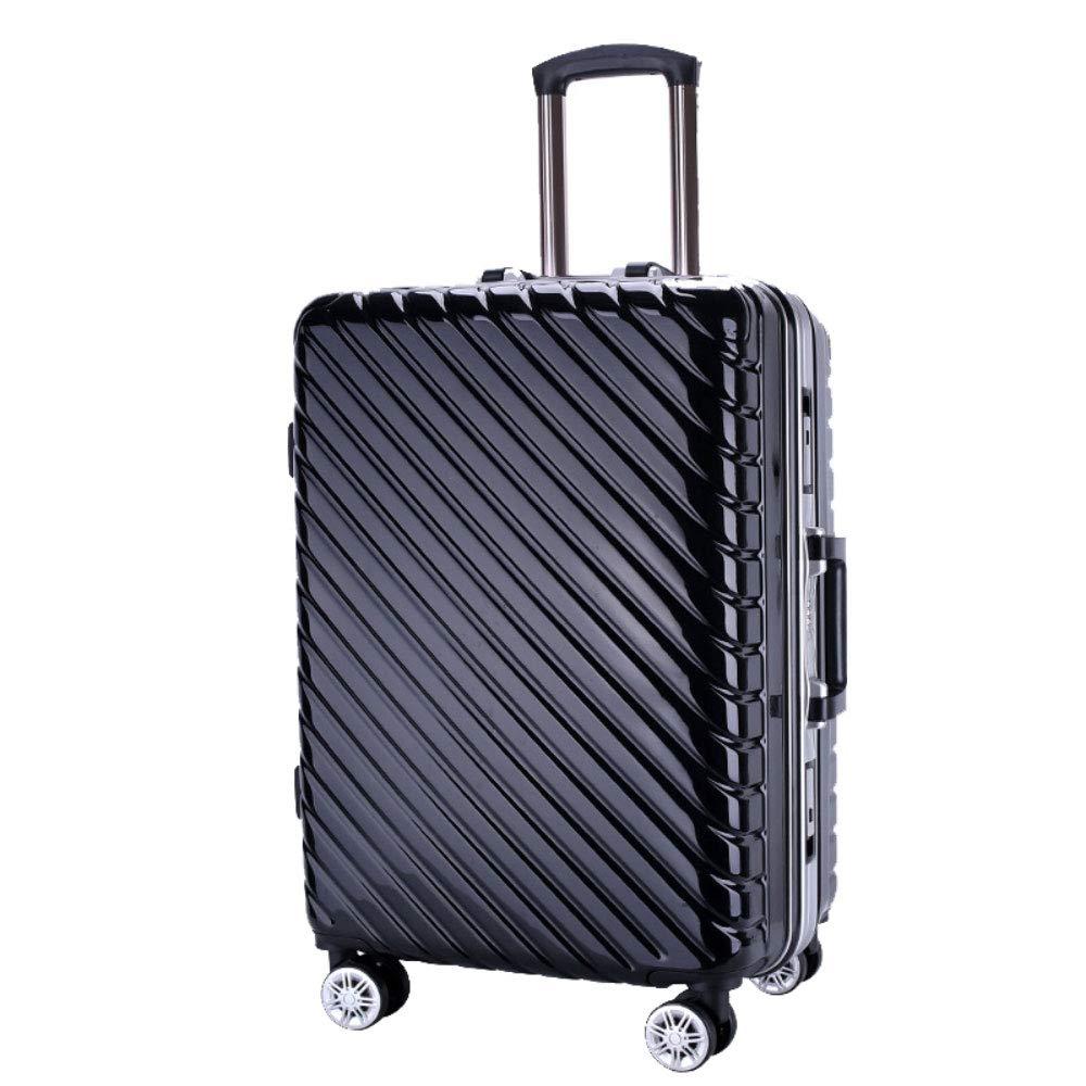 トロリー箱のアルミニウムフレーム箱のPCの男性および女性ビジネス搭乗パスワード箱のスーツケース (Color : ブラック, Size : 20 inches)   B07R6NZVD9