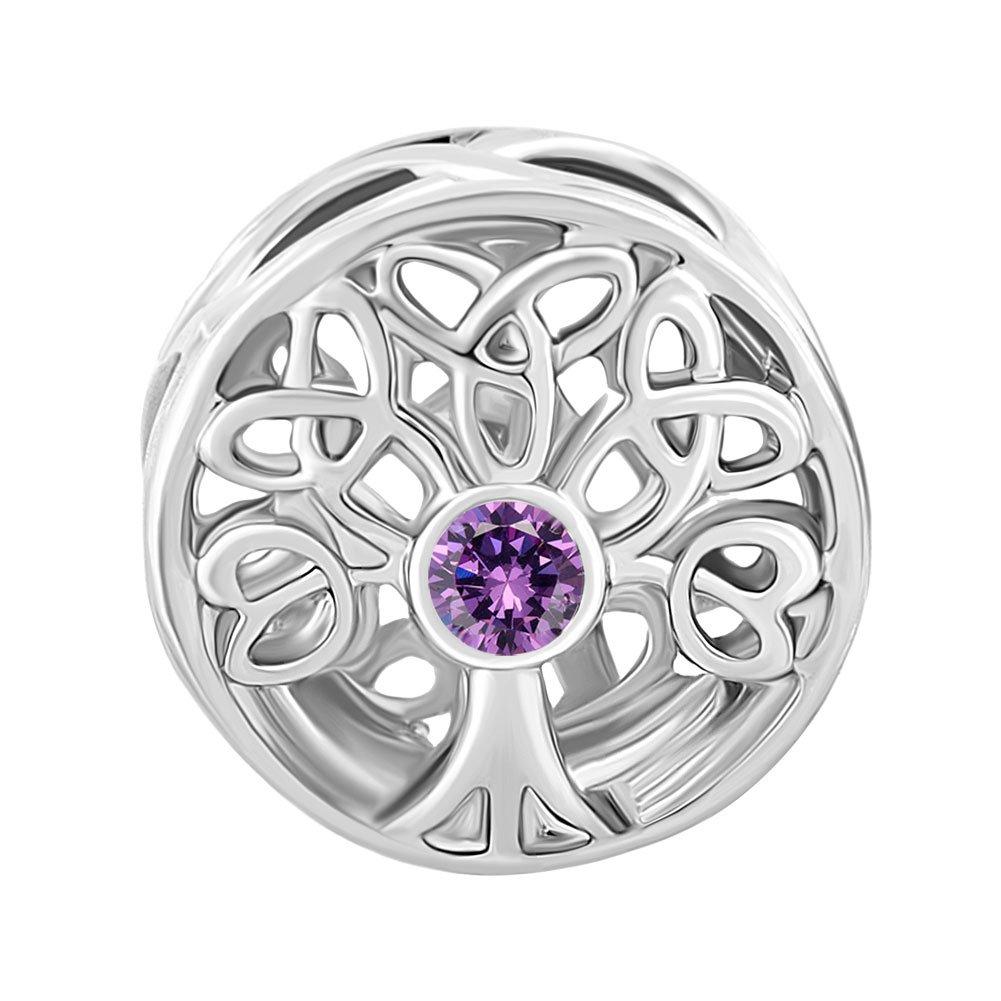Uniqueen - Breloque pour bracelet avec motif en filigrane - Nœud celtique avec cristal au centre DPC_FA429