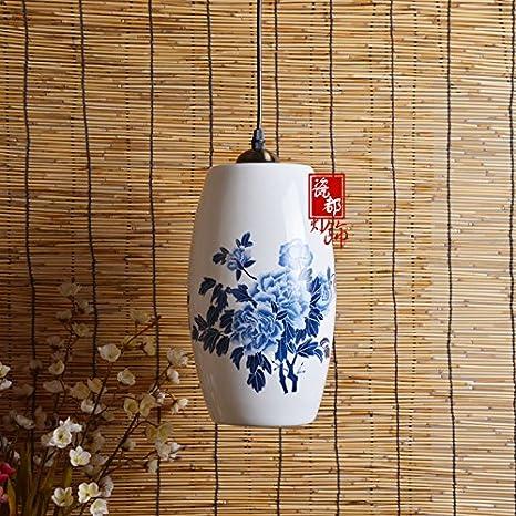YBFQ LED Cerámica China Peony Azul Lámpara De Techo: Amazon ...