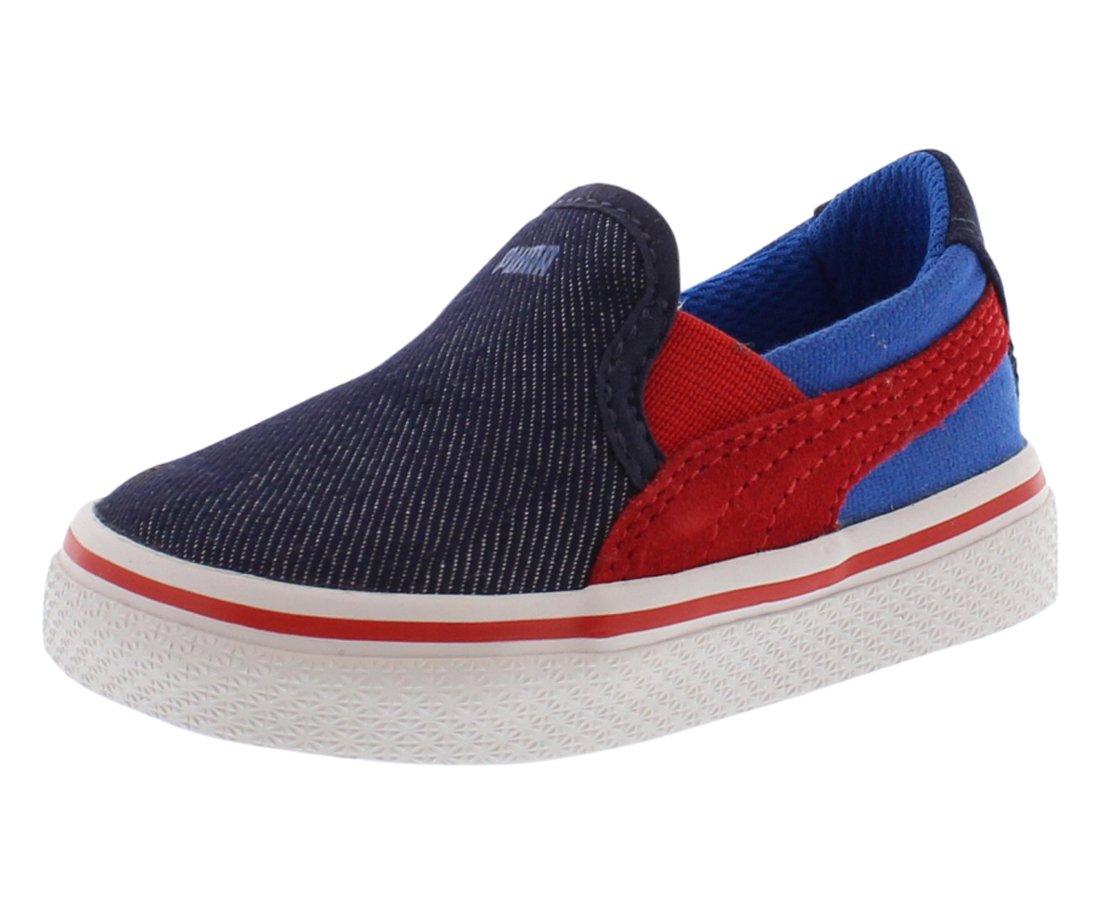 PUMA Sllyde Vulc Kids Slip On (Toddler/Little Kid) , Peacoat/High Risk Red/Strong Blue, 4 M US Toddler