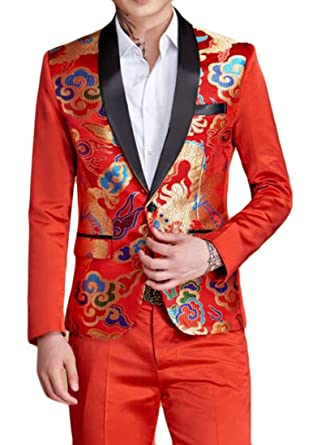 ee27b767cdd1 Amazon.com  YUELANDE Mens 2 Pieces Floral Pattern Suit Slim Fit One Button  Blazer Jacket and Trousers Set  Clothing