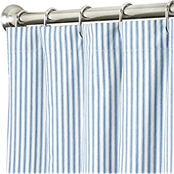 Decorative Things Shower Curtain Unique Fabric Designer Modern Striped Ticking Blue And White 72 Inches