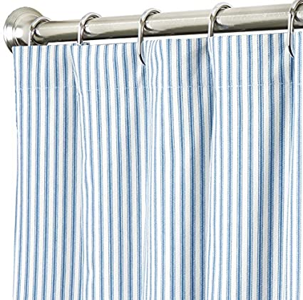 Extra Long Shower Curtain Unique Designer Modern Blue Striped Ticking 84 Inches