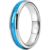 THREE KEYS JEWELRY 8mm Mens Black Tungsten Galaxy Ring with Green Opal Meteorite Inlay