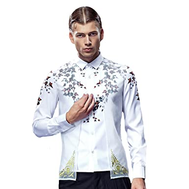 ec726d11 FANZHUAN Non Iron Shirts for Men Slim White Slim Fit Fashion Two in ...