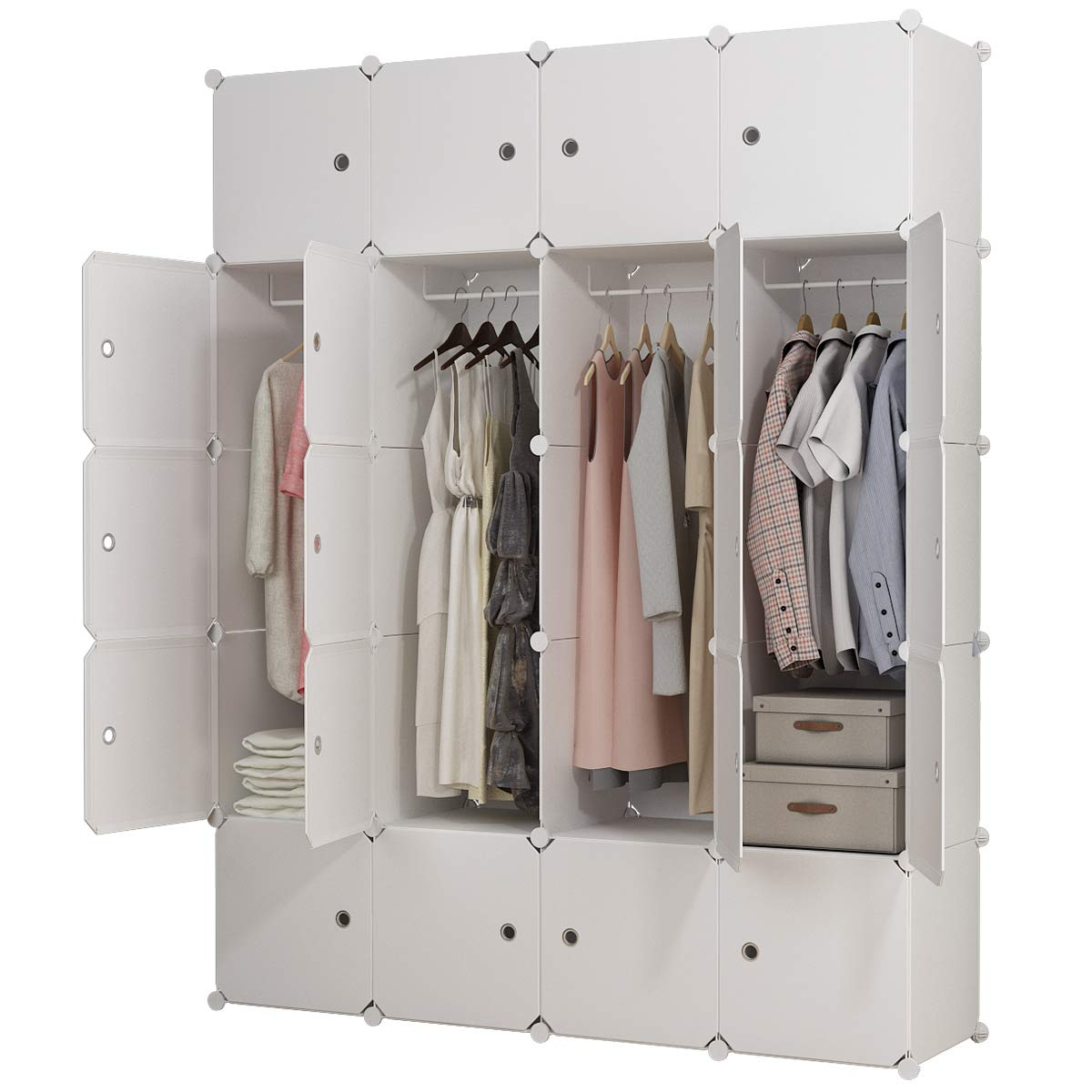 KOUSI Portable Clothes Closet Wardrobe Bedroom Armoire Dresser Cube Storage Organizer, Capacious & Customizable, White, 8 Cubes+4 Hanging Sections