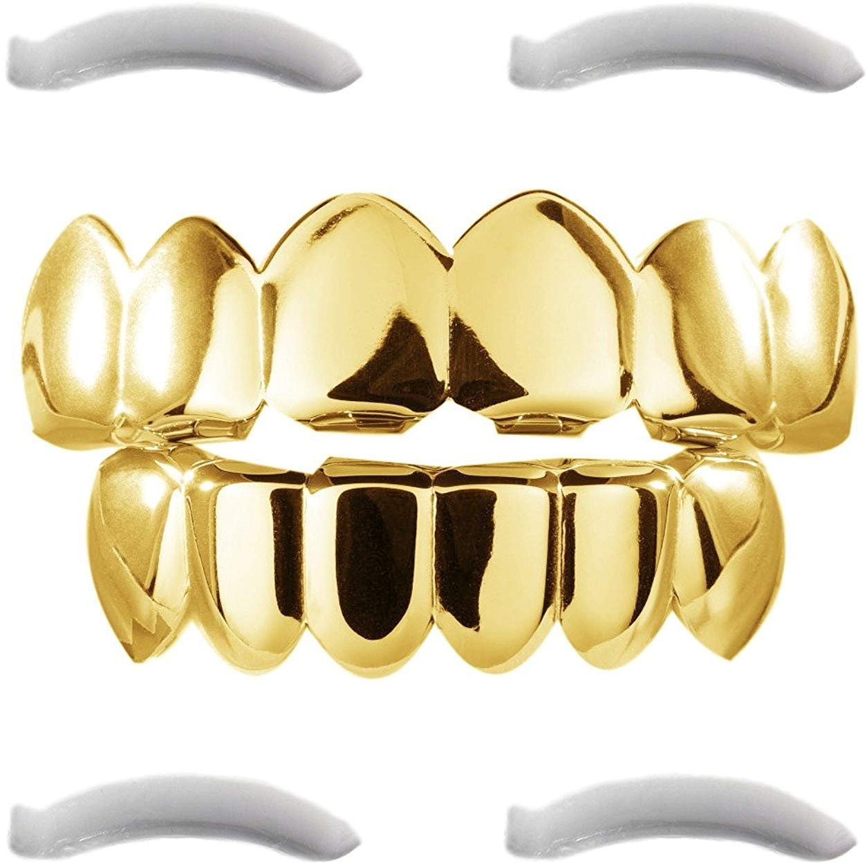 24K Plated Gold Grillz for Men and Women | Mouth Top Bottom Hip Hop Teeth Grills | + 2 Extra Molding Bars + 1 Microfiber Cloth