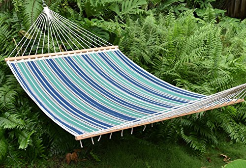 Caribbean Hammocks Quilted Hammock_ INTRODUCTORY PRICE (Green & Blue Stripe)