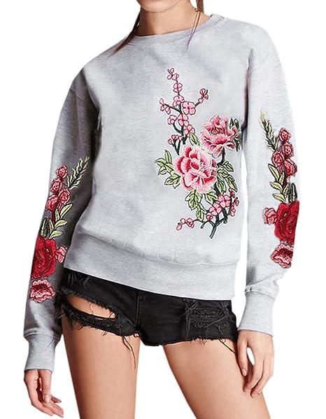 Mujeres Sudaderas Moda Bordado Pulóver T-Shirt Blusa Jerséis Cuello Redondo Manga Larga Jumpers Tops Suéter: Amazon.es: Ropa y accesorios
