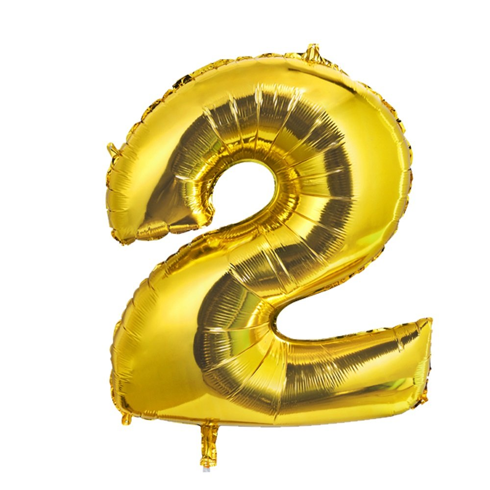 Gold 40Inch Number 2 Foil Balloons, Giant Jumbo Foil Helium Balloons for Graduation Grad Decorations Birthday Party Decor New Year Eve Party Festival Party Favors Supplies Konsait
