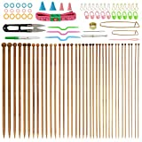 BUZIFU Bamboo Knitting Needles (14 Inches Length), 36PCS Carbonized Knitting Needles 18 Sizes from 2.0mm to 10.0mm with 56 PCS Accessories
