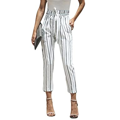 Pantalons Femme Sexy Haute Rayure Large Pantalons taille Pantalon uclF1K35JT