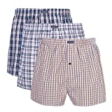 3PK Men's Woven Boxers, 100% Cotton Boxer Shorts for Men, Boxershorts with Button Fly, Underwear, Vanever Navy Assorted XL