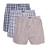 3 PK Men's Woven Boxershorts, 100% Cotton Underwear Boxers Short for Men, Button Fly, VANEVER