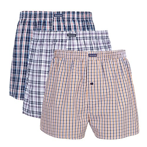VANEVER Cotton Men's Boxers, Woven Boxer Shorts, Men's Knit Boxer Briefs, Men's Plaid Boxershorts, Loose Fit Boxer Underwear, Everyday Guys Boxer Trunks, Button Fly Pattern Boxers, 3 Packs (Loose Fit Boxer Underwear)