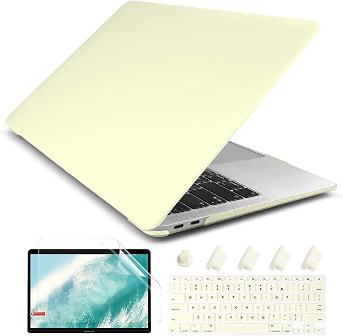Dongke MacBook Air 13 inch Case 2020 2019 2018 Release Model: A2179/A1932, Rubberized Frosted Matte Hard Shell Cover Case for MacBook Air 13.3 inch with Retina Display Touch ID - Mellow Yellow