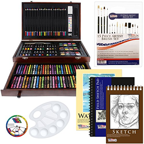 US Art Supply 142 Piece Mega Art Creativity Drawing Set in Wood Case with BONUS 20 additional pieces from US Art Supply
