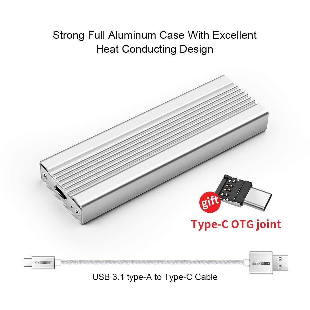 Kingshare M.2 NVME to USB3.0 Type-C Portable External Enclosure NVMe M.2 Enclosure Silver Aluminum KS-NVX02S