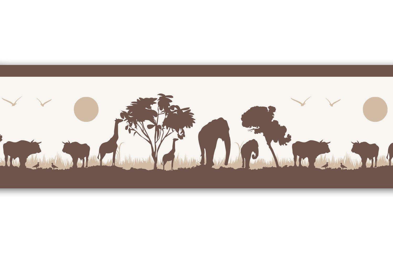 Kleisterbordü re 'Afrika ', 4-teilig 520x15cm, Tapetenbordü re, Wandbordü re, Borte, Wanddeko, braun, beige wandmotiv24